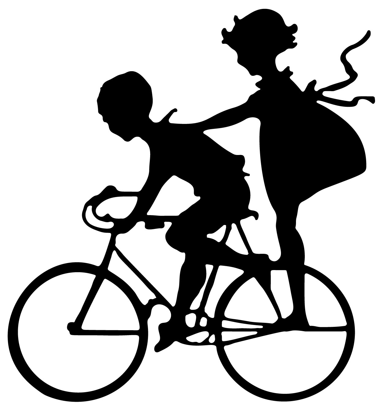 Vintage Brother and Sister Bicycle Silhouette
